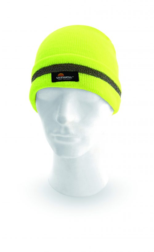 Zimná čiapka KEADY ŽLTÁ s reflexným pruhom
