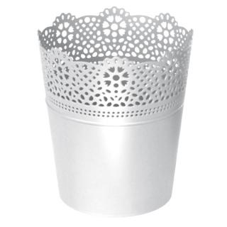 Kvetináč Lace obal s čipkou biely 140mm