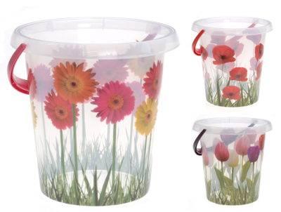 Vedro 12l plast s dekoráciou kvetov mix