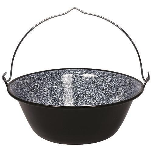 Kovový kotlík 20 lit, smaltovaný na guľáš s pozinkovaným kovovým držadlom. Vhodný na prípravu jedla pri táborení v prírode, pri vode alebo v domácnosti.