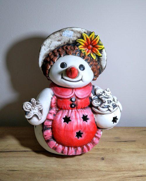 vienocny Snehuliak na sviečku, keramika, 34cm
