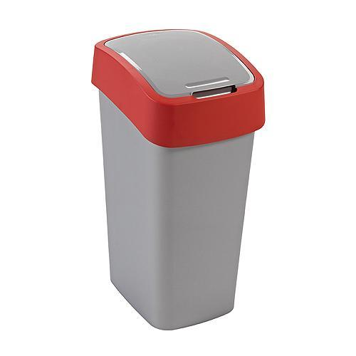 Kôš Curver® FLIP BIN 50L, šedostříbrná/červená, na odpad