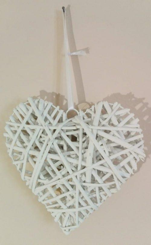 Srdce prútené biele 25cm