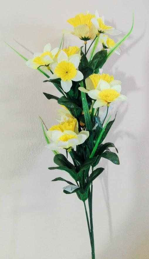 Kytica narcis s trávou, umelé kvety, 66cm