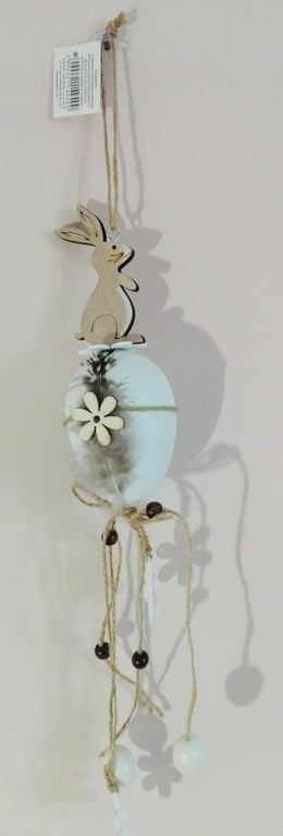 Závesná jarná veľkonočná dekorácia - vajíčko, zajac, 45cm