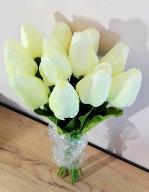 Kytica tulipán biely, umelé kvety, 12ks