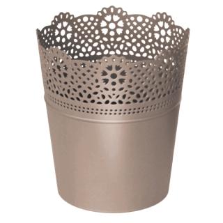 Kvetináč Lace obal s čipkou mocca 140mm