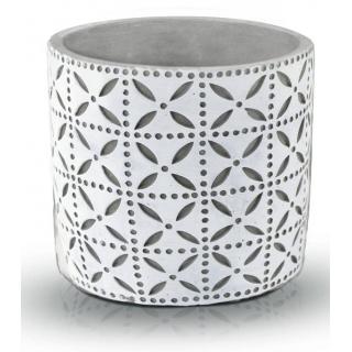 Kvetináč keramický obal Etno sivo-biely 14cm