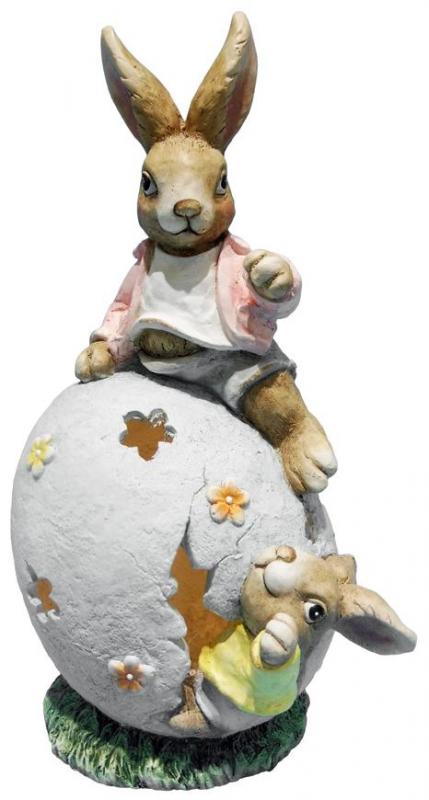 Dekorácia Gecco 2219 Zajace s domčekom 31x22x48cm