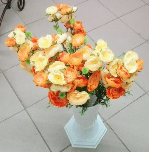 Umelé kvety Kytica 3x ranunculus 60cm