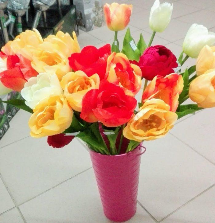 Umelé kvety Tulipán 1ks mix farieb: biela, žltá, oranžová, červená
