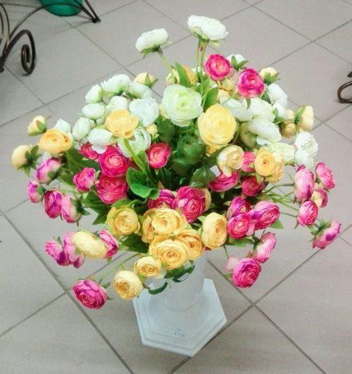 Umelé kvety x3 Camelia 50cm mix farieb : žltá, biela, ružová
