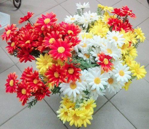 Umelé kvety kytica margarétka 7x mix farieb 57cm