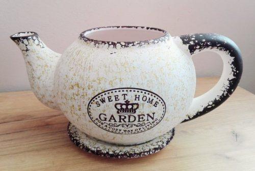 Obal na kvetináč Keramický čajník s podšálkou 15x30cm