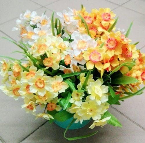 Umelé kvety Kytica narcis x5 mix farieb