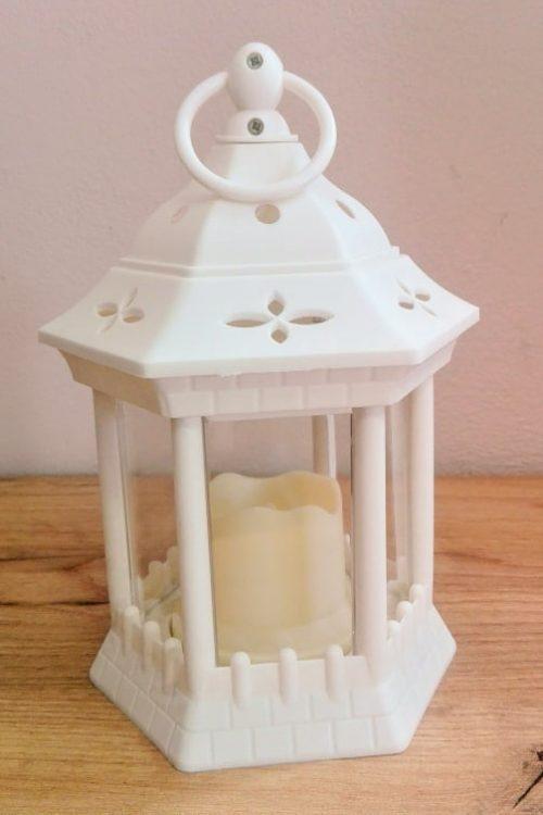 Lampáš so sviečkou biely LED 23x12cm