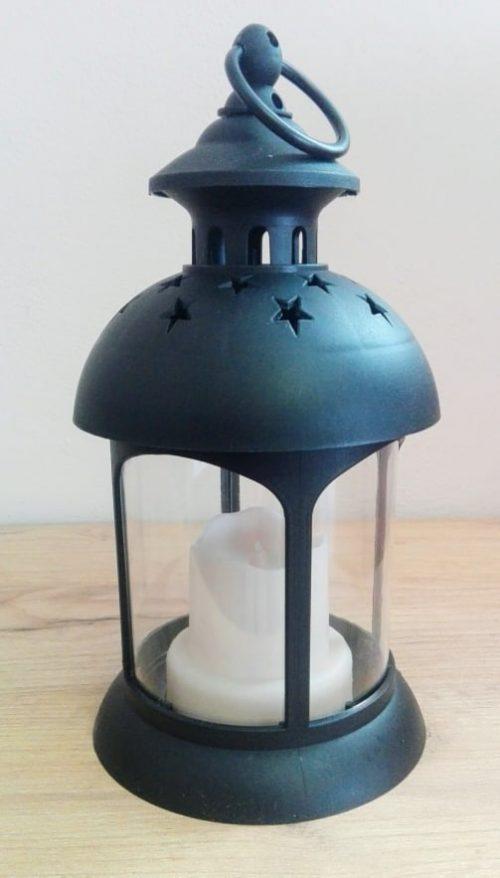 Lampáš so sviečkou čierny LED 27x12cm