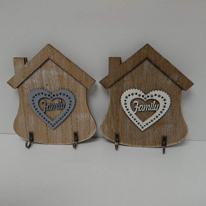 Vešiak na kľúče domček so srdcom dvojháčik 15x13cm