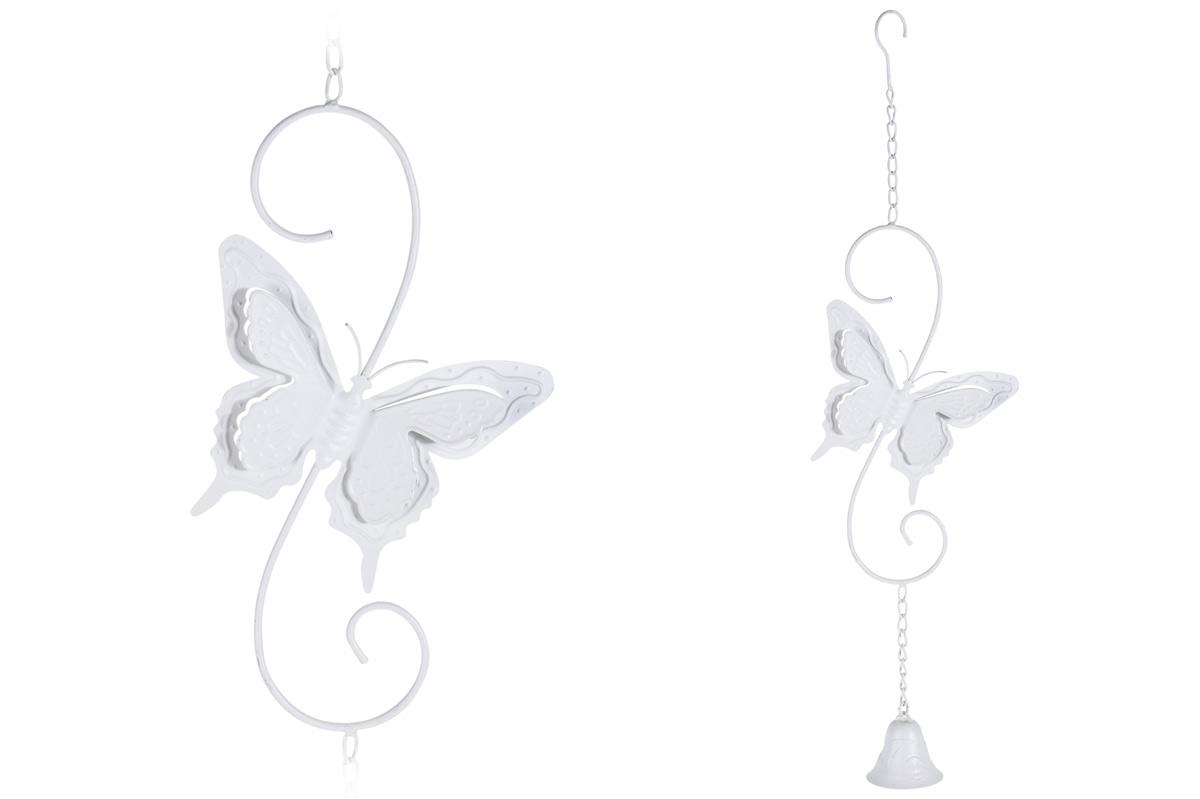Závesná dekorácia motýľ so zvončekom biely