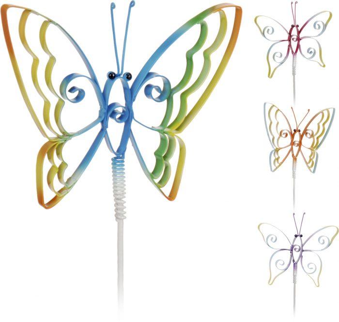 Motýľ kovový zapichovací na pružine 15x10cm 40cm