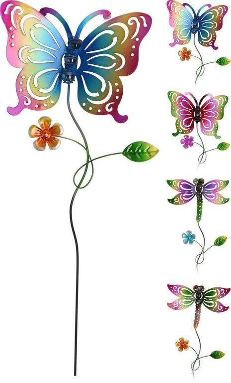 Dekorácia motýľ vážka zapichovacia 62cm mix