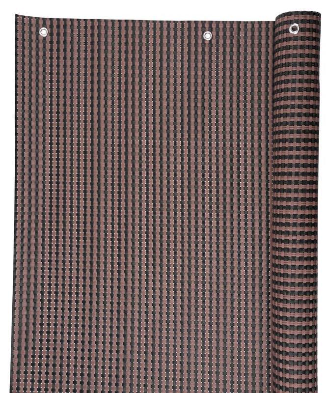 Zástena Polyratan 77 0.9x3m UV 800gm2 hnedo-čierna tieniaca na balkón s okami