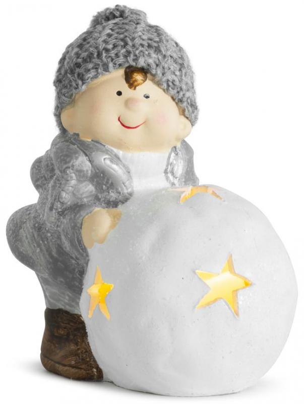 Postavička Chlapček s guľou LED terakota 15cm