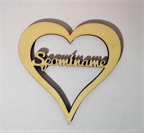 Drevený nápis srdce spomíname 8x7.5cm