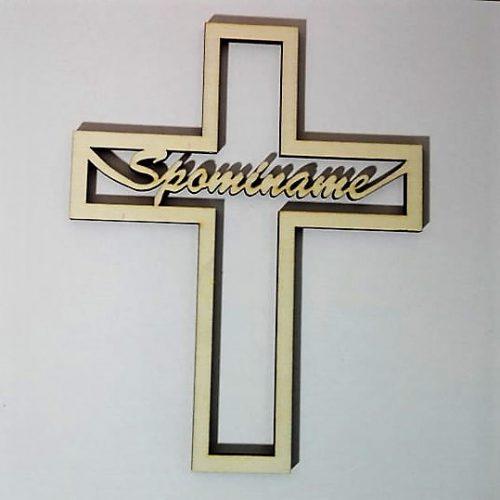 Drevený nápis krížik spomíname 17.5x14cm