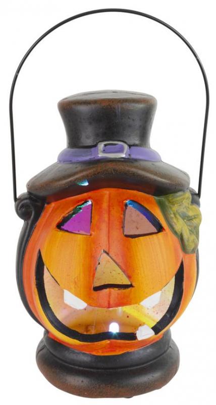 Dekorácia Lampášik tekvica LED s klobúkom keramika 15cm